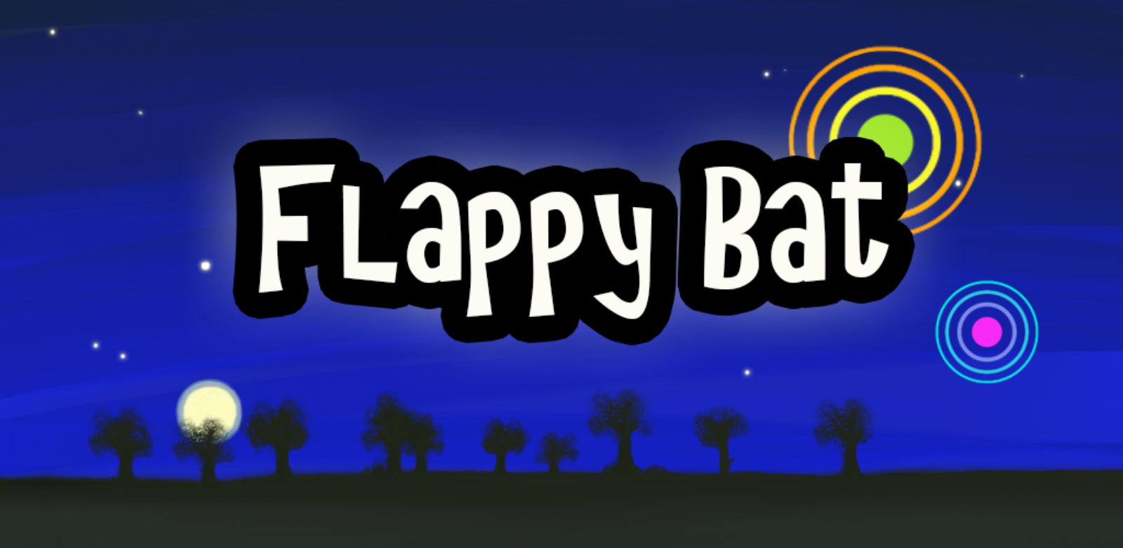 promo Flappy Bat new met bomen en maan en ring 2015